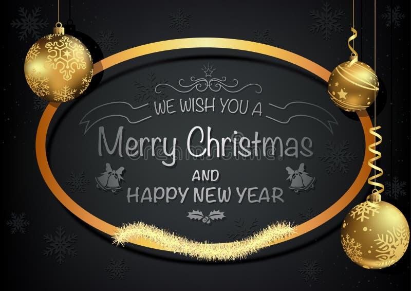 Dunkle Weihnachtsgruß-Karte mit goldener Dekoration stock abbildung