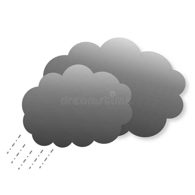 Dunkle Wolken mit Regen als Wetterikone lizenzfreie abbildung