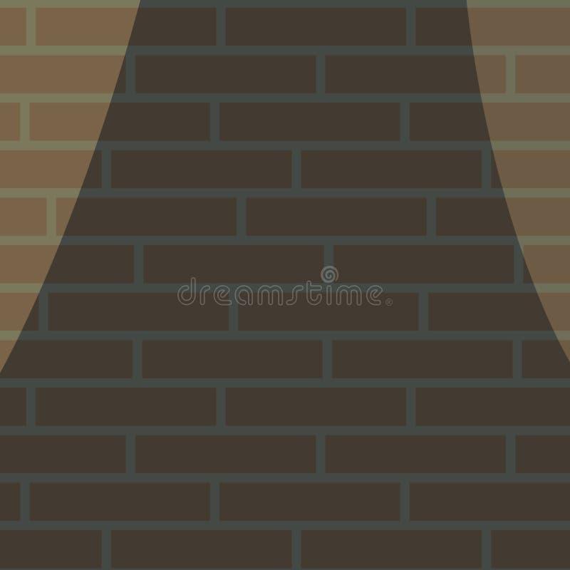 Dunkler Backsteinmauerstillstand belichtet durch zwei Laternen auf den Rändern der Vektorzeichnung lizenzfreie abbildung