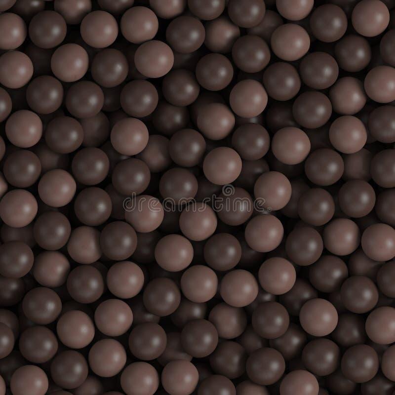 dunkler 3d Milchschokolade-Ballhintergrund vektor abbildung