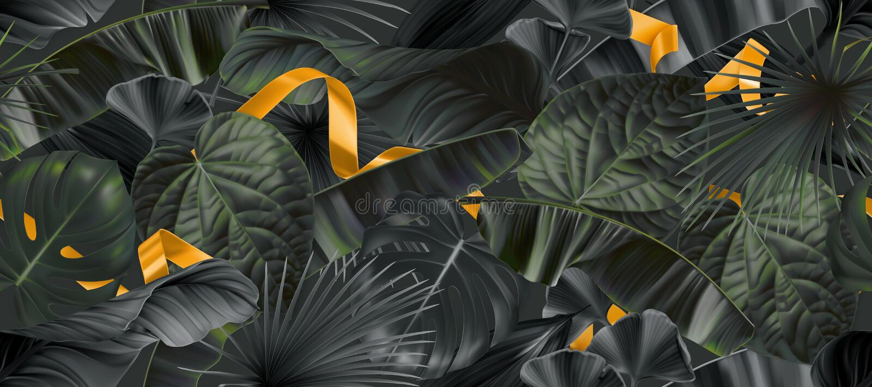 Dunkler Dschungel verlässt mit nahtlosem Muster der Goldbänder, Hintergrund des Vektors 3d vektor abbildung
