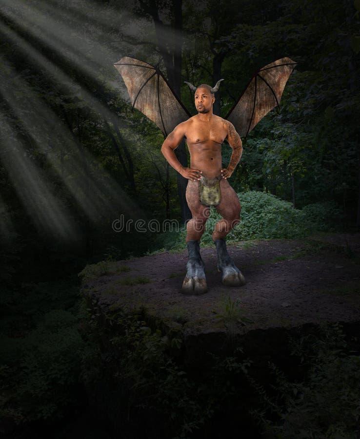 Dunkler Engel, Teufel, Übel, Wald lizenzfreies stockbild