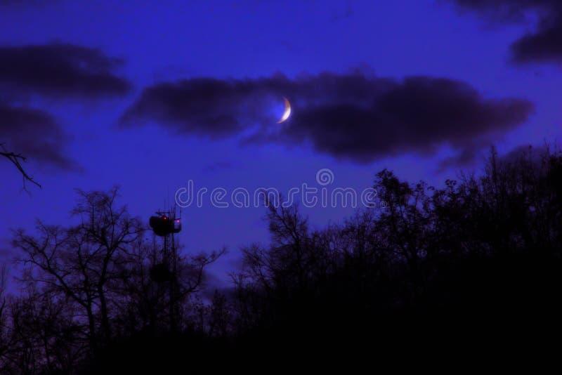 Dunkler gespenstischer gruseliger Forest Landscape Tower Red Eyes-Lampen-Mond lizenzfreie stockfotos