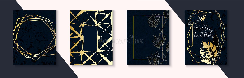 Dunkler Heiratseinladungs-Luxussatz Indigo-dunkelblauer Rahmen-Plan Marmor maserte tropischer Blatt-Vektor-einfaches Paket vektor abbildung