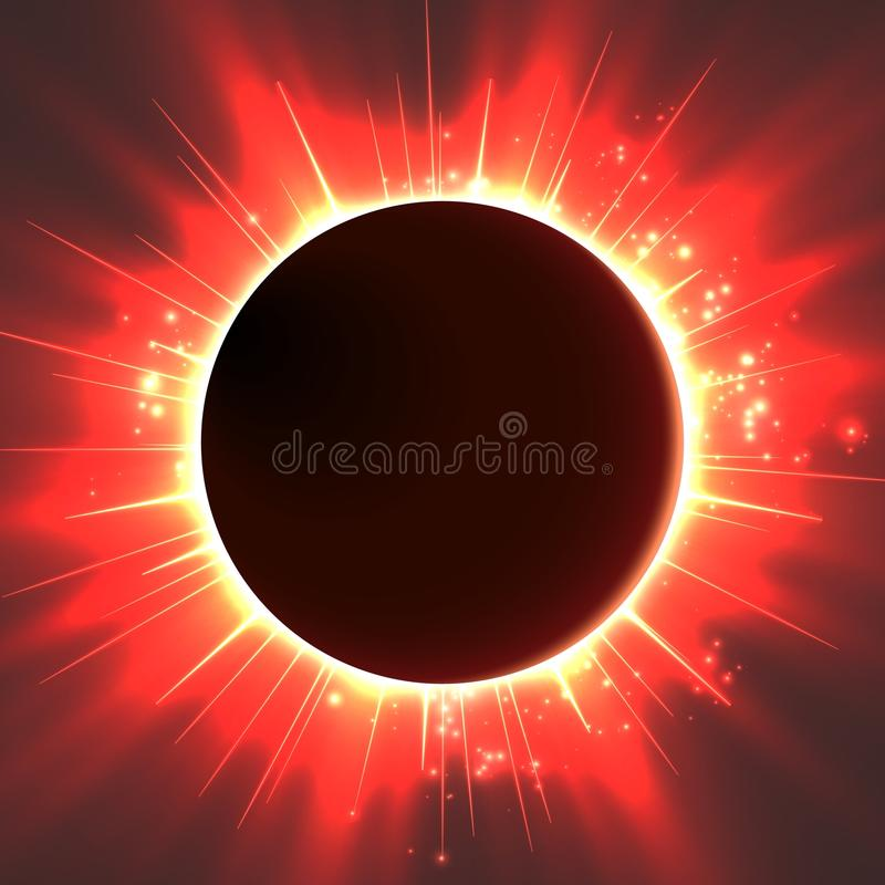 Dunkler Hintergrund des abstrakten Vektors mit Planeten und Eklipse seines Sternes Heller Glanz des roten Lichtes des Sternes von lizenzfreie abbildung