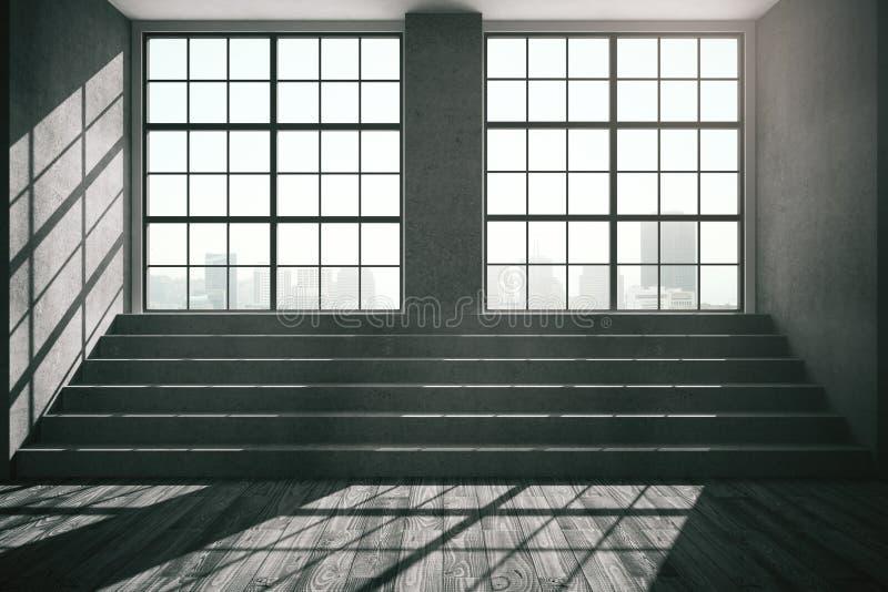 Dunkler Innenraum mit konkreter Treppe lizenzfreie abbildung