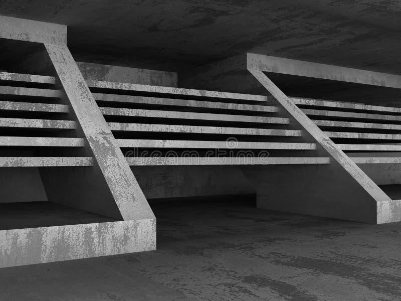 Dunkler konkreter Raum Geometrischer Architektur-Hintergrund vektor abbildung