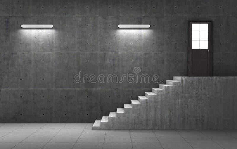 Dunkler konkreter Raum mit der Treppe, die zu die Tür führt lizenzfreie abbildung
