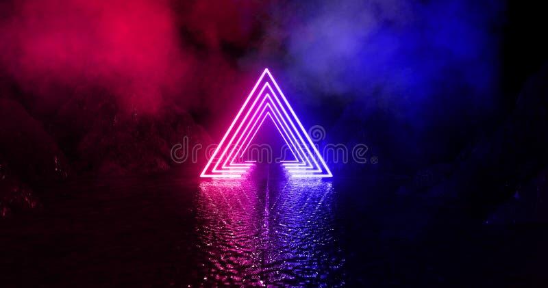 Dunkler, leerer Raum, leeres Stadium, Raum mit hellem Element, Neonlicht, abstraktes Licht stockfoto