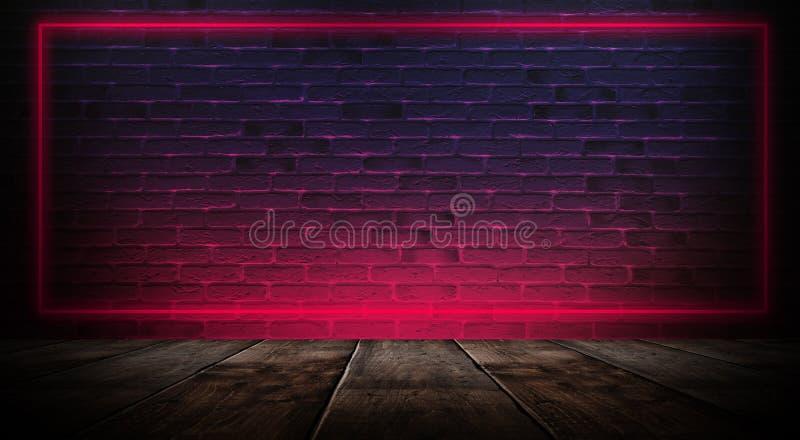 Dunkler leerer Raum mit Backsteinmauern und Neonlichtern, Rauch, Strahlen stockbild