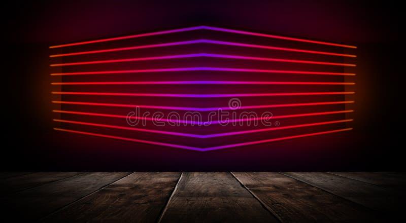 Dunkler leerer Raum mit Backsteinmauern und Neonlichtern, Rauch, Strahlen lizenzfreies stockbild