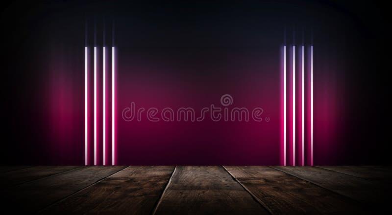 Dunkler leerer Raum mit Backsteinmauern und Neonlichtern, Rauch, Strahlen lizenzfreie abbildung