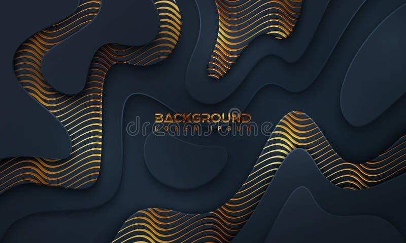Dunkler Luxushintergrund strukturiert und gewellt mit einer Kombination von glänzenden Linien Abbildung des Vektor EPS10 stock abbildung