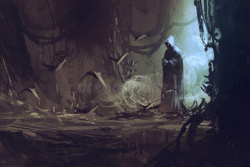 Dunkler Mantel im mysteriösen Wald stock abbildung