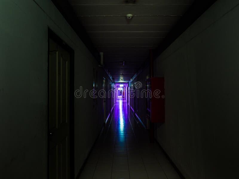 Dunkler mysteriöser Korridor im Gebäude Türraumperspektive im Gebäude mit violettem Licht, Grausigkeitskonzept stockfotografie