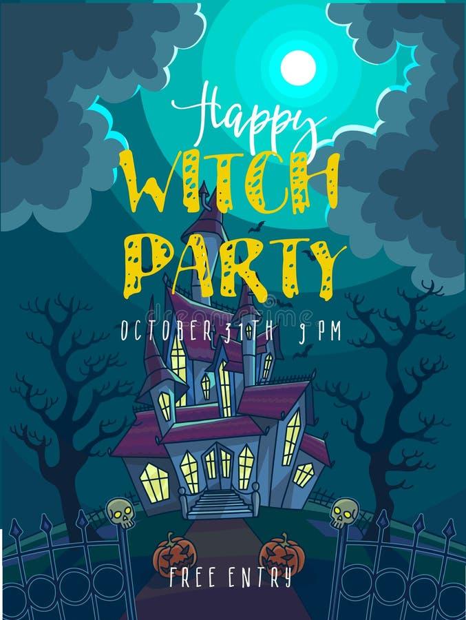 Dunkler Papierschläger Halloween-Vektorillustration mit furchtsamem Haus, Mond und Kürbis lizenzfreie abbildung