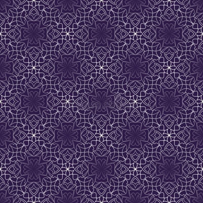 Dunkler purpurroter abstrakter Weinlesehintergrund mit rautenförmigen Spitzemustern Nahtlose weiße Vektorverzierung in den Schräg stock abbildung