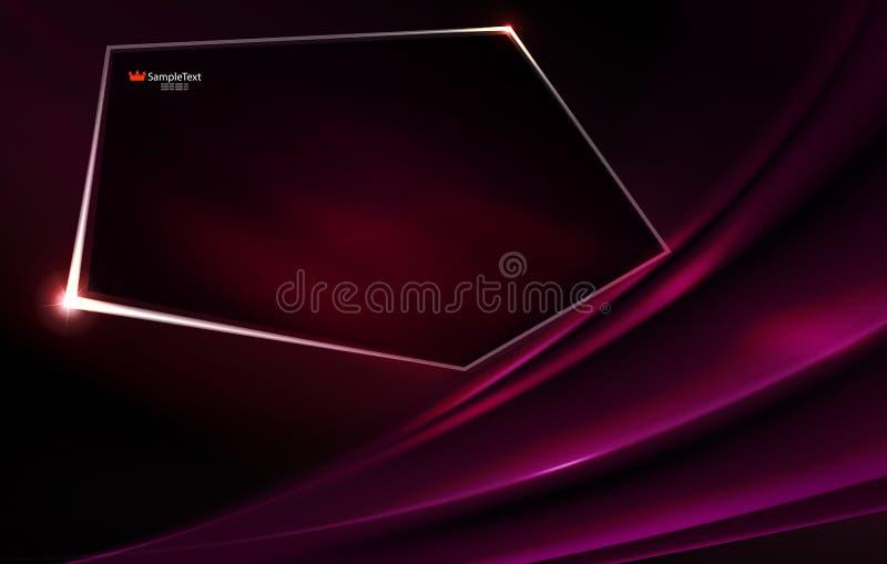 Dunkler purpurroter Hintergrund der Zusammenfassung wie Angelegenheit mit polygonalem glänzendem Rahmen vektor abbildung