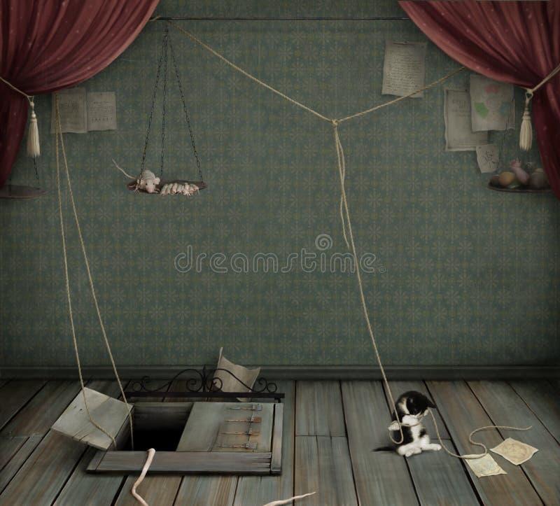 Dunkler Raum mit Keller, Kätzchen und Ratte. lizenzfreie abbildung