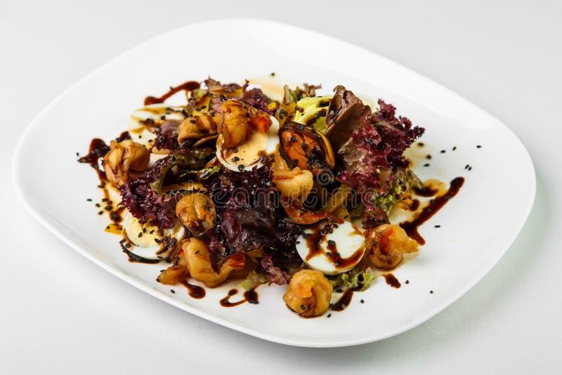 Dunkler Salat mit Meeresfrüchtesoße auf hellem Teller über weißem backgroun stockbilder