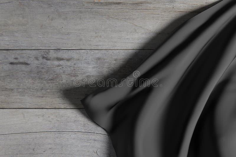 Dunkler silk Stoff auf Bretterboden lizenzfreie abbildung