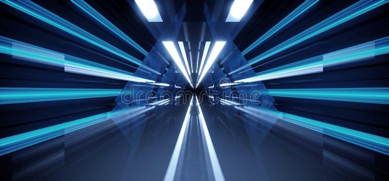 Dunkler Tunnel-Korridor-Hallen-NeonSchmutz-konkrete Reflexion Stadiums-Bau-Gl?hen blauer Retro- moderner Sci FI futuristischer zu lizenzfreie abbildung