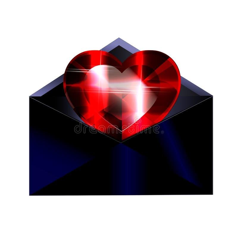 Dunkler Umschlag und rotes Herz lizenzfreie abbildung