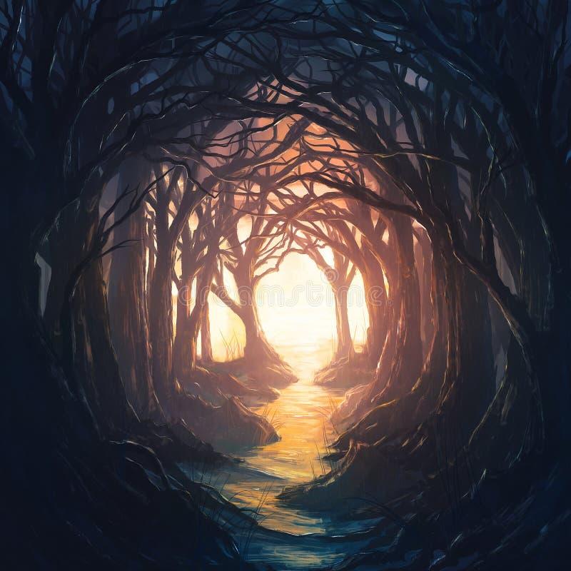 Dunkler Wald, der führt, um zu beleuchten stock abbildung