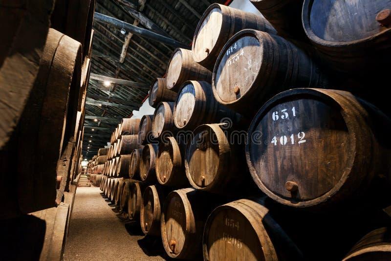 Dunkler Weinkeller mit nummerierten hölzernen Fässern für traditionelle Weinproduktion stockfoto
