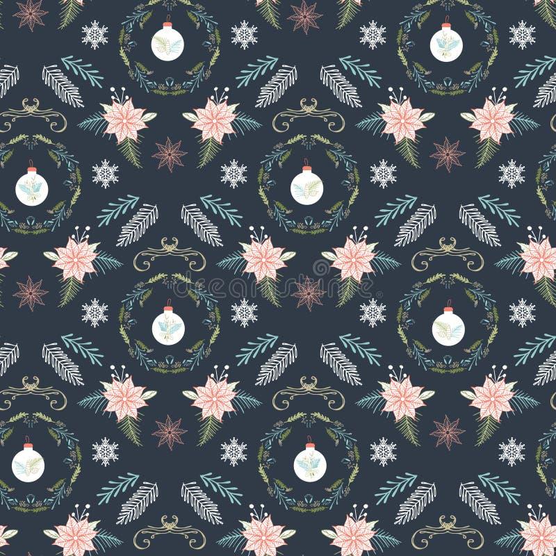 Dunkler Winter kreatives Weihnachtsdamastmuster mit Kränzen, Immergrün, Poinsettia und Weihnachtsbaumschmucken Vektor lizenzfreie abbildung