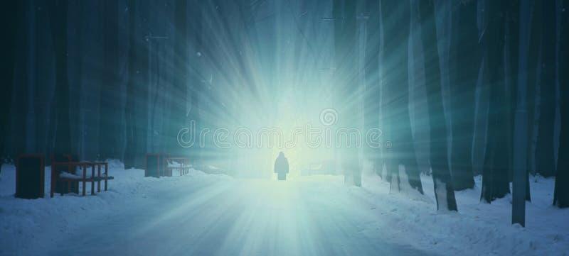 Dunkler Winterwald im Nebel Einsame Zahl auf dem Hintergrund des Lichtes stockbild