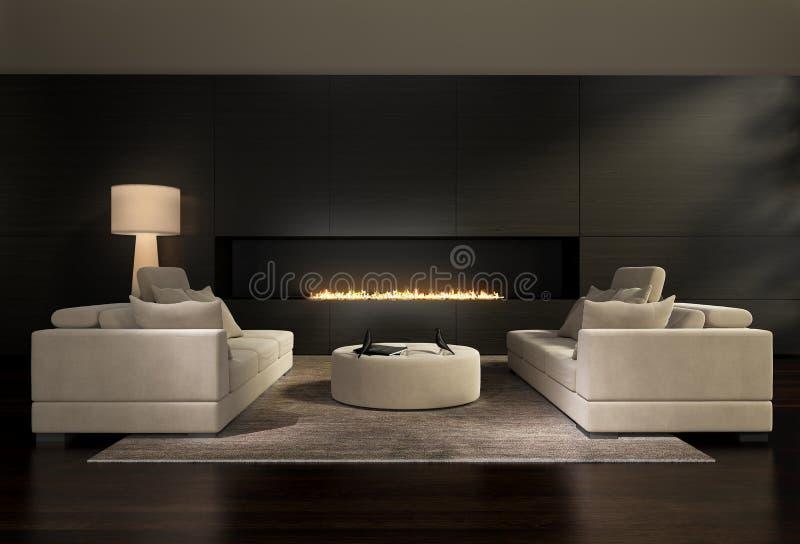 Dunkler zeitgenössischer Innenraum, ein Wohnzimmer mit einem flachen Gaskamin stockfotografie