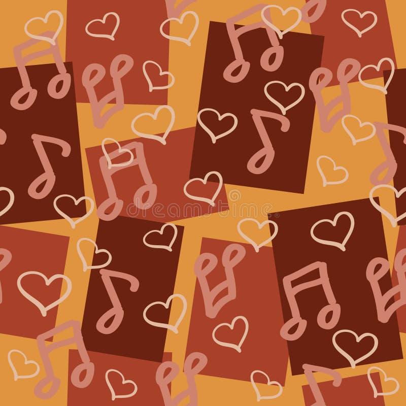 Dunkles chocolaty nahtloses Muster für Musikfreunde vektor abbildung