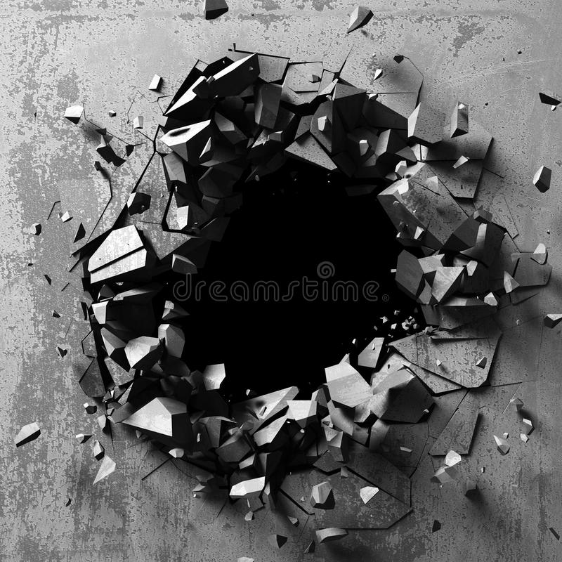 Dunkles Explosionsloch der konkreten alten Wand stockbild