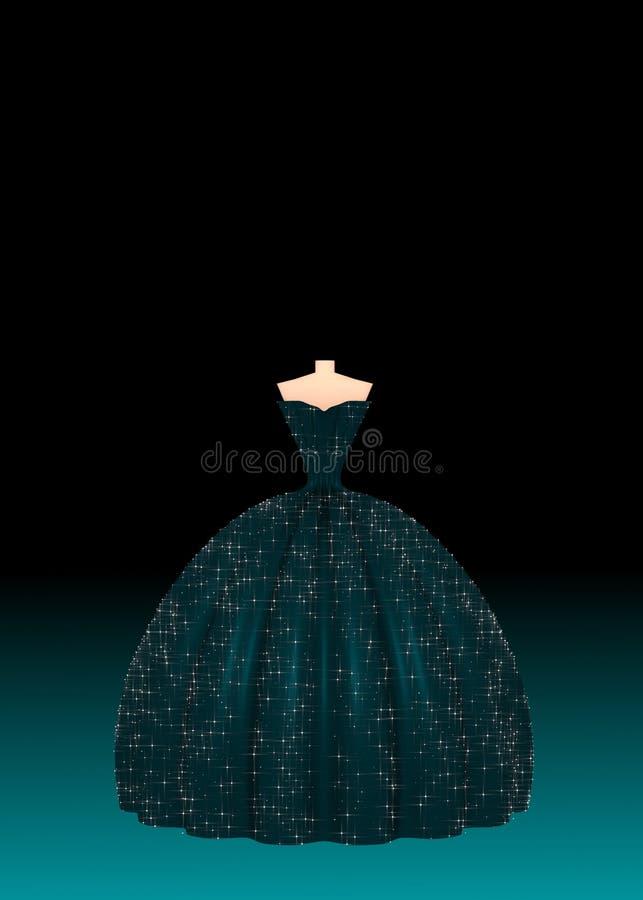 Dunkles flaumiges Ballkleid für besondere Anlässe auf schwarzer Illustration des Hintergrundes 3D stockfotografie