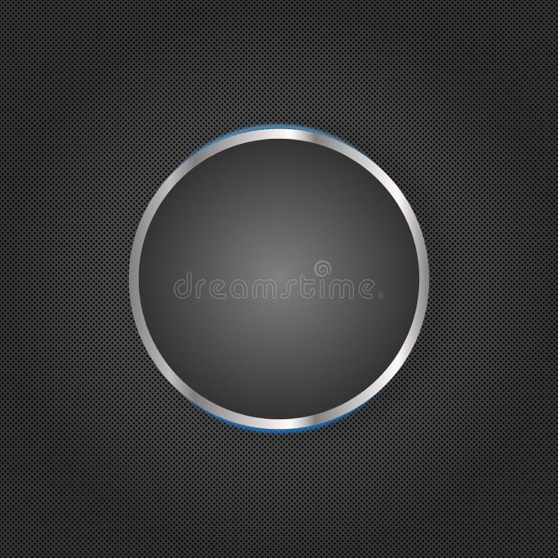 Dunkles Grey Geometric Texture Background mit einem glänzenden Kreis in der Mitte vektor abbildung