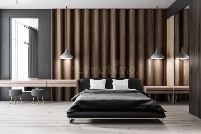 Hölzernes Schlafzimmer, Zwei Poster, Tür Stock Abbildung ...