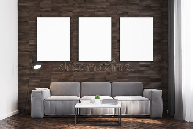 Download Dunkles Holz Ummauert Wohnzimmer, Front Stock Abbildung    Illustration Von Mock, Abbildung: