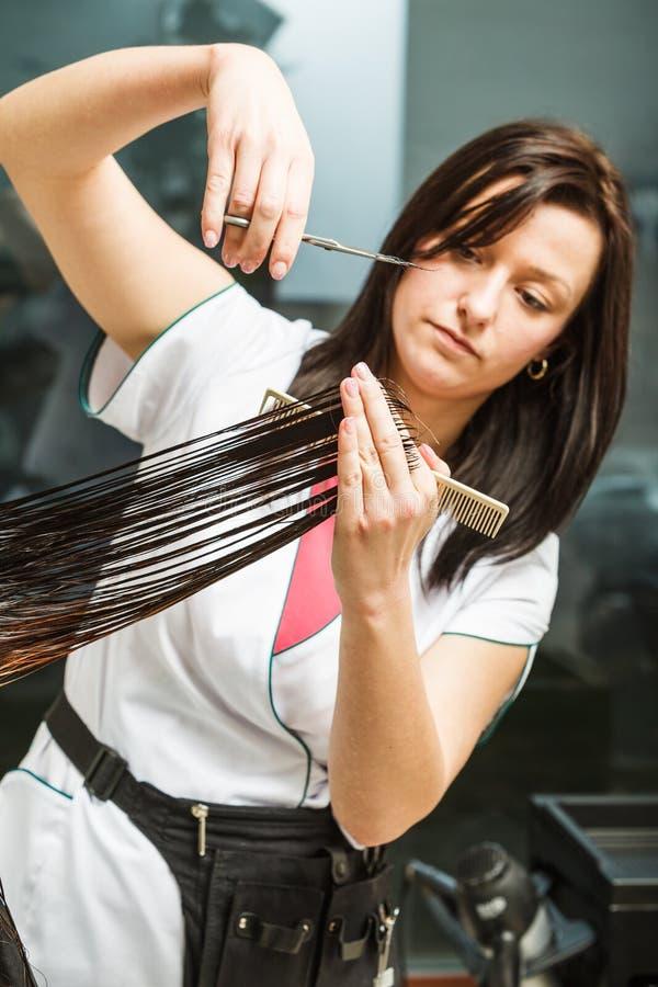 Dunkles langes Haar der Friseurausschnitt-Frau lizenzfreie stockfotos