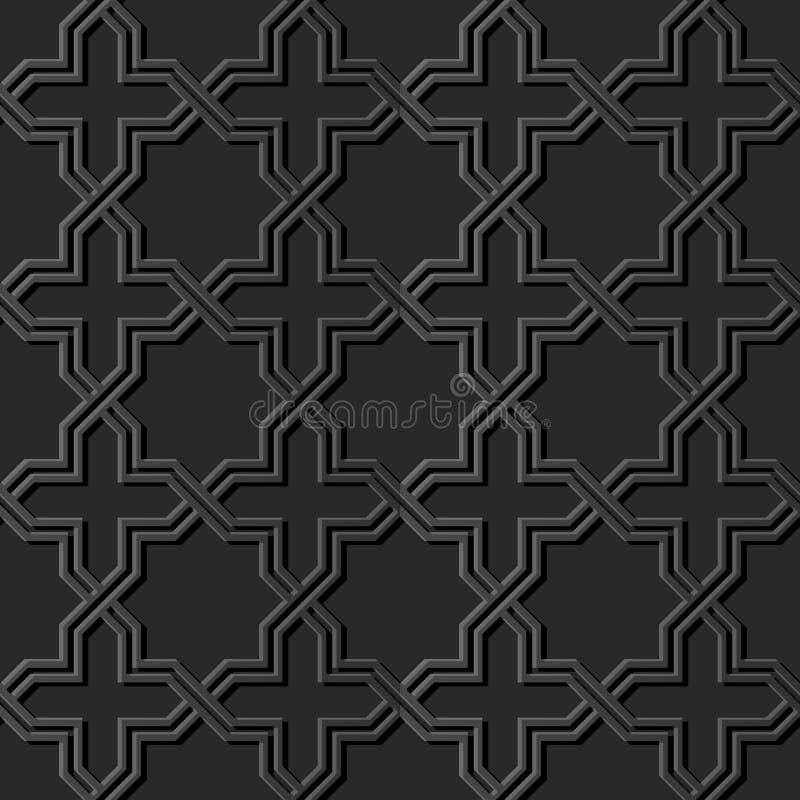 dunkles Papiergeometriekreuz-Muster der kunst 3D islamisches nahtloses backgr stock abbildung
