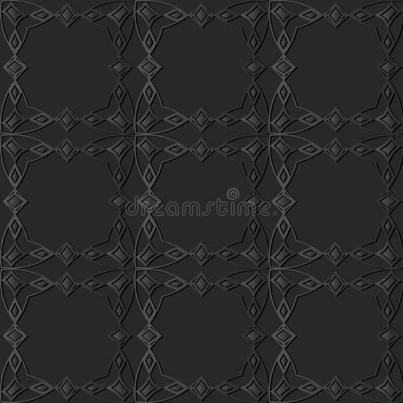 dunkles Papierkunst 3D Kurven-Quadrat-Kontrollkreuz-Feld Diamond Gem stock abbildung
