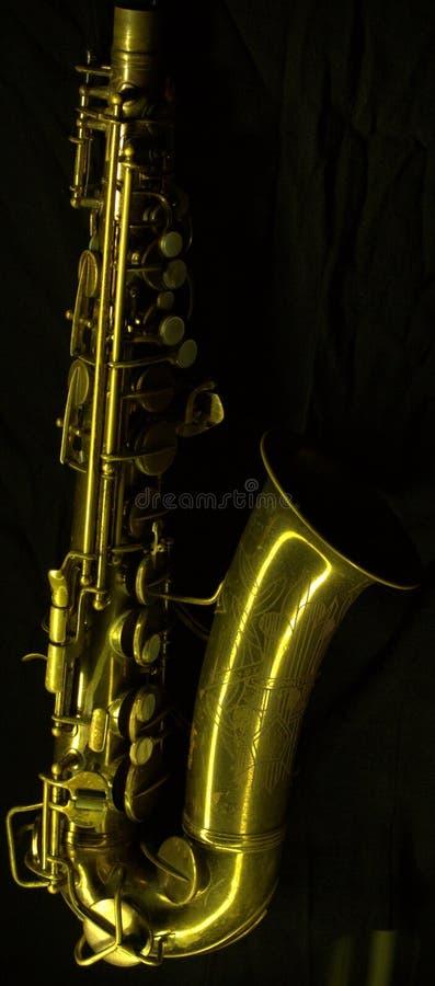 Dunkles Saxophongold Lightbrush stockfotos