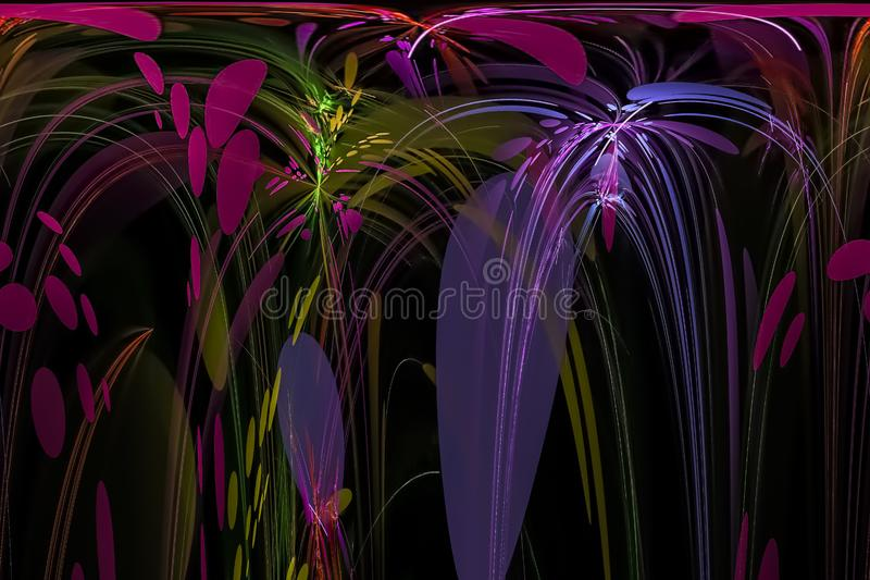 Dunkles schönes vibrierendes Chaos der abstrakten digitalen Energiegrafikdesignscheinphantasie Fractal-Fantasie vektor abbildung