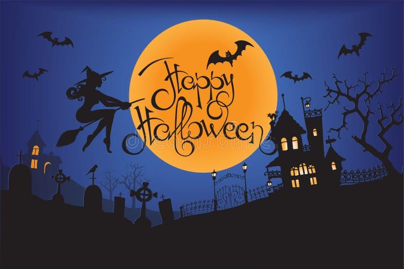Dunkles Schloss und eine Hexe vor einem Vollmond mit furchtsamen erläuterten Elementen für Halloween-Hintergrundpläne Vektor illu lizenzfreie abbildung