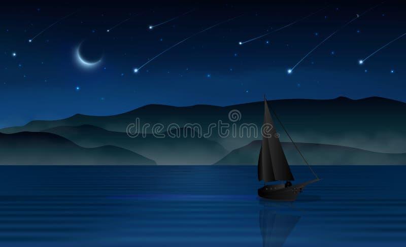 Dunkles Segelboot des nächtlichen Himmels des Meteorschauers und Liebhaberschattenbild vektor abbildung