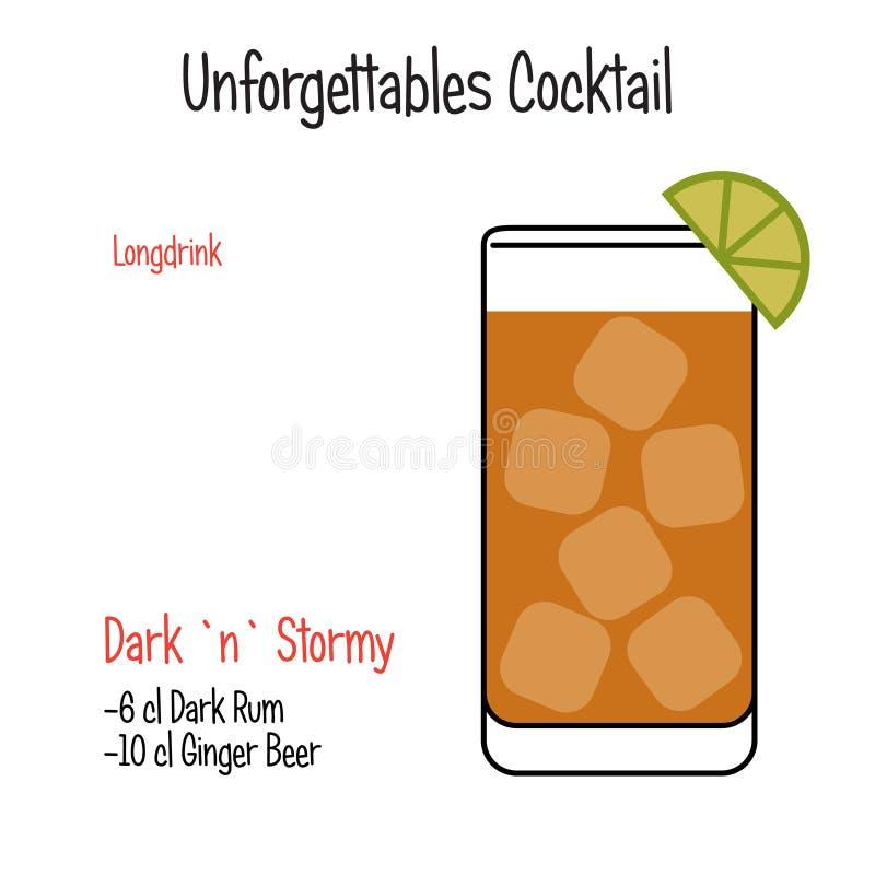 Dunkles und stürmisches alkoholisches Cocktailvektor-Illustrationsrezept lokalisierte stock abbildung
