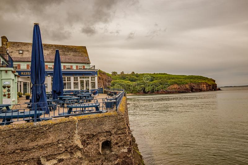 Clifftop restaurant overlooking the Irish Sea in the coastal seaside town of Dunmore East, County Waterford, Ireland royalty free stock photos
