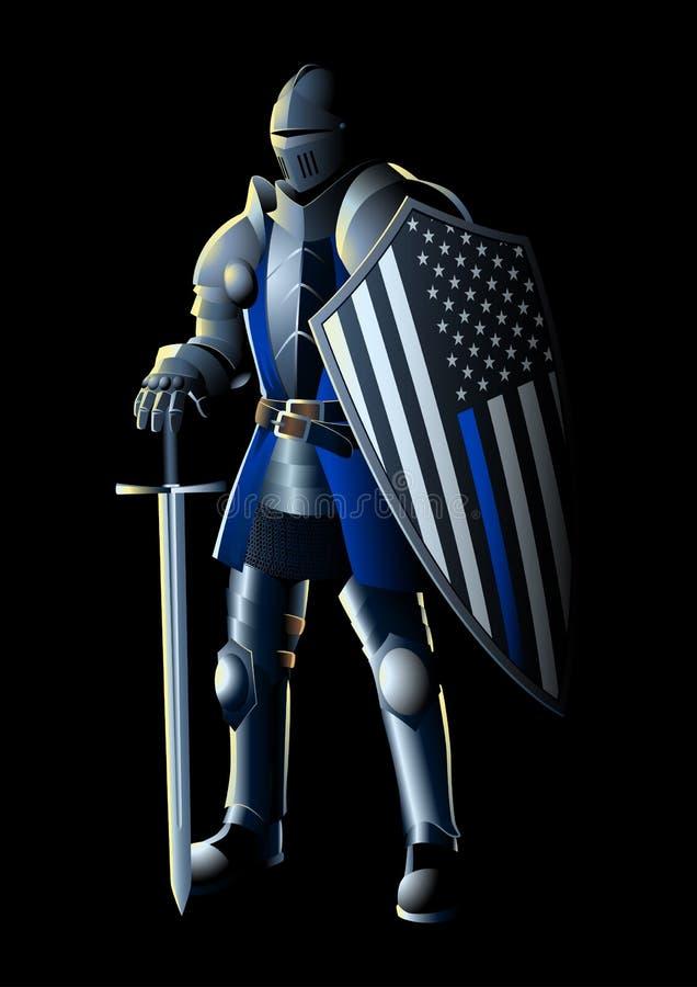 Dunne Blue Line-Ridder royalty-vrije illustratie