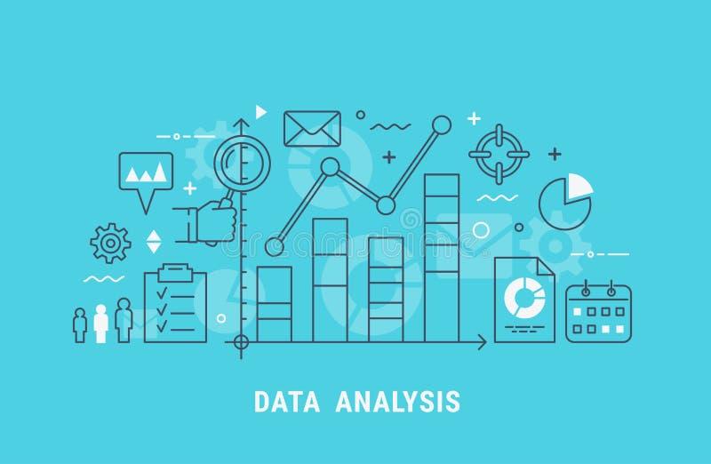 Dunne de lijn vectorillustratie van de gegevensanalyse stock illustratie
