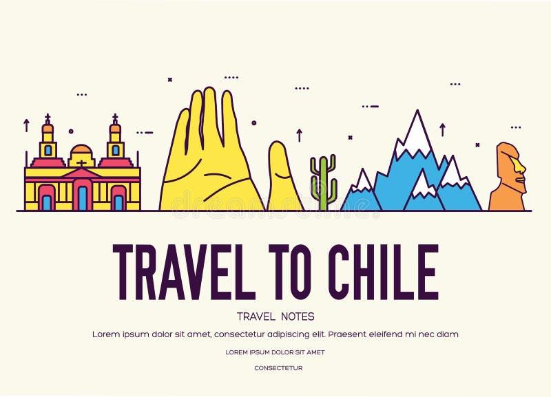 Dunne de lijngids van Chili van het land van goederen, plaatsen en eigenschappen Reeks van overzichtsarchitectuur, manier, mensen vector illustratie